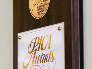 row of PICA awards