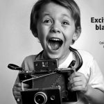 Excited young boy with old-time camera printed in B&W of Flo Digital cardstock