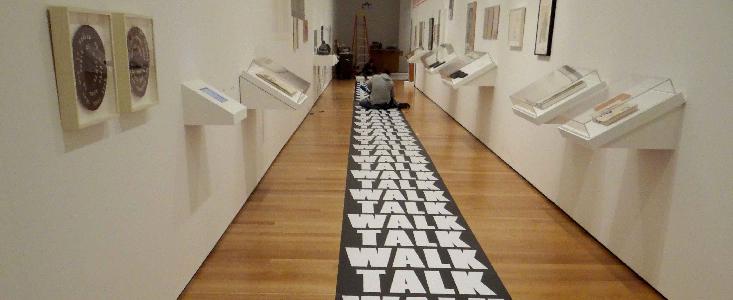 Vinyl graphics on a museum floor