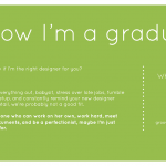 Page from promo book, white text on green background, introducing Katie Beth Groover as a recent design graduate