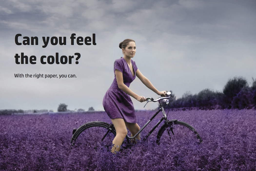 Photo of girl on bicycle, wearing purple dress in a field of purple flowers, printed on textured paper