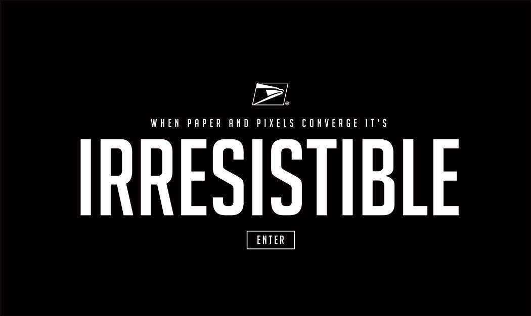 Splash screen for USPS Irresistible Mail website