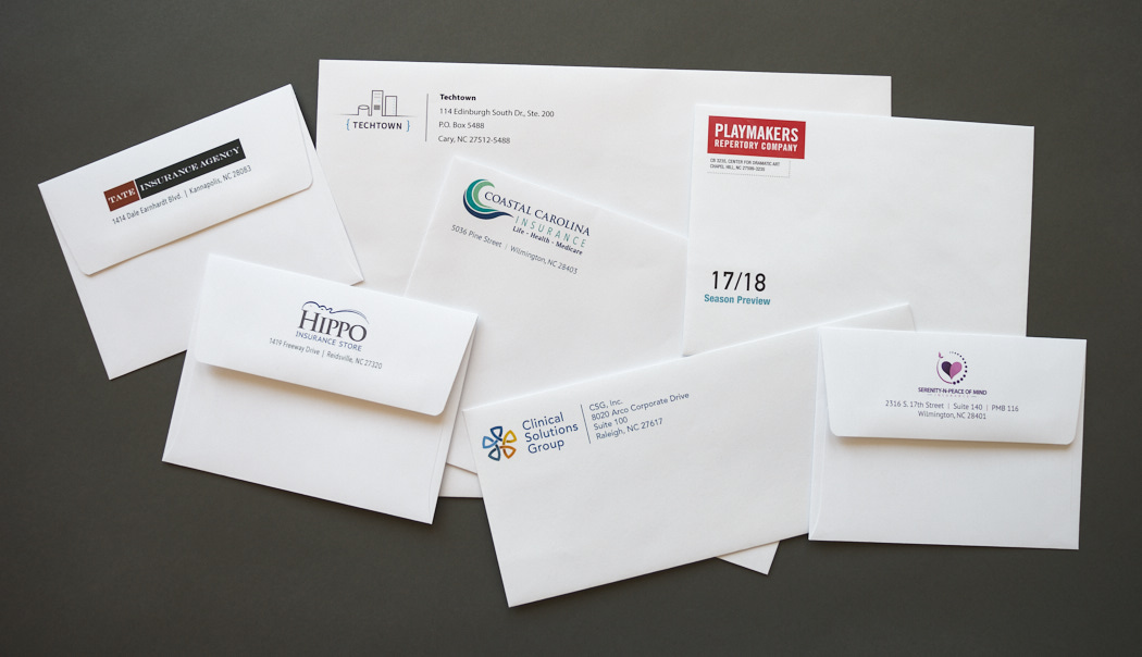 Collection of full-color printed envelopes